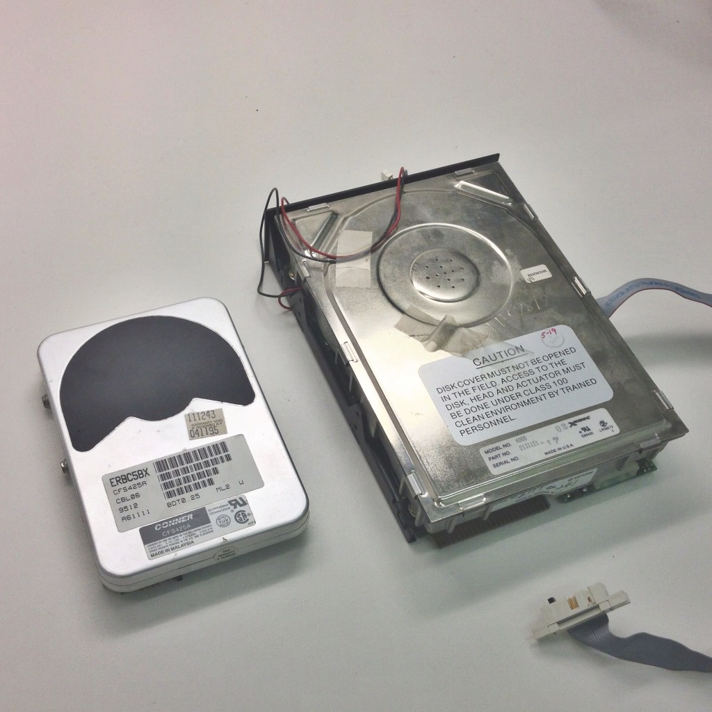 "Pictured right: The Sider's hard disk. Left: 3.5"" hard disk for scale"